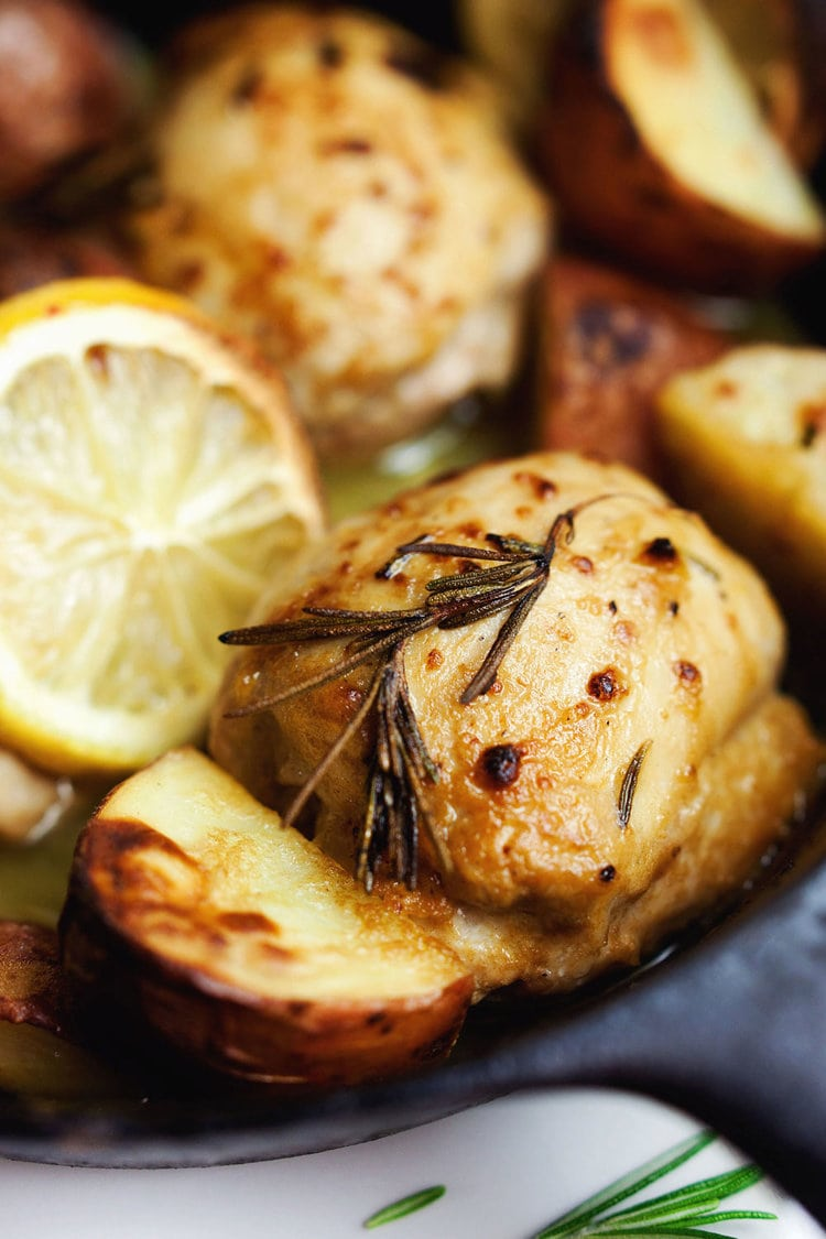 Healthy one pan magic! Savory chicken and potatoes - SO delicious and comforting. <3 | asimplepalate.com