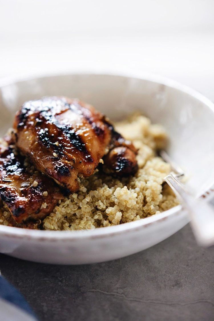 Grilled Honey Mustard Glazed Chicken and Quinoa - Crispy, sweet chicken on top of fluffy quinoa. My favorite chicken recipe! | asimplepalate.com
