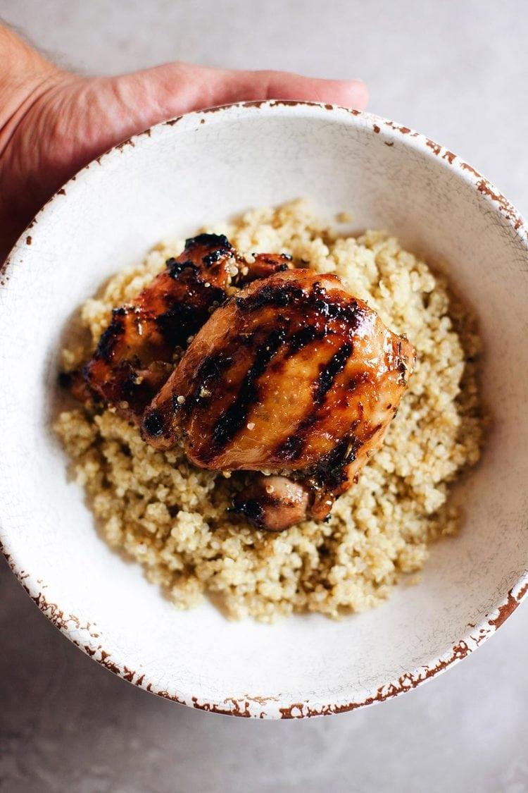 Grilled Honey Mustard Glazed Chicken and Quinoa - Crispy, sweet chicken on top of fluffy quinoa. My favorite chicken recipe!| asimplepalate.com