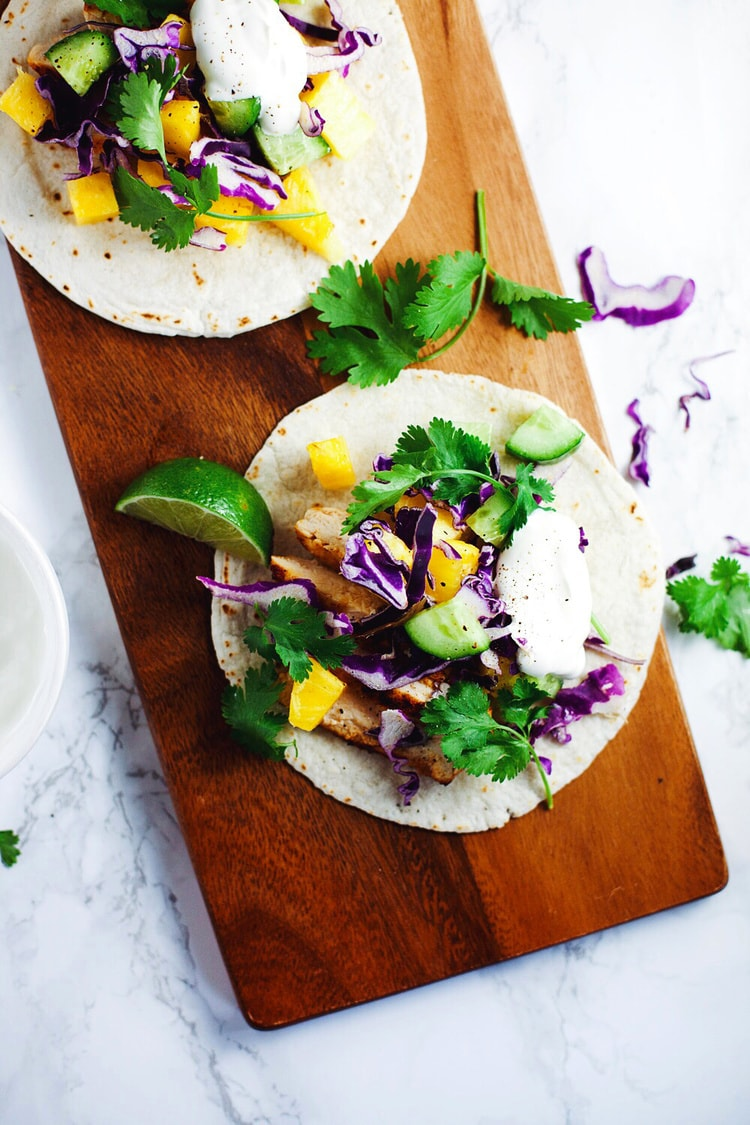 Spicy Summer Chicken Tacos with sweet pineapple and crunchy cucumbers! Healthy, refreshing and so so YUM! <3 | asimplepalate.com