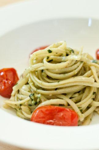 Pesto Pasta & Roasted Tomatoes | asimplepalate.com