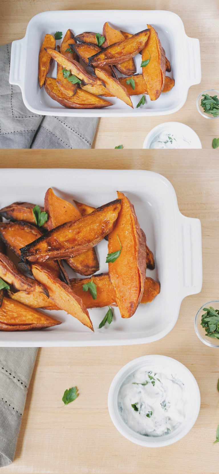 Roasted Sweet Potatoes with Yogurt-Herb Sauce   asimplepalate.com