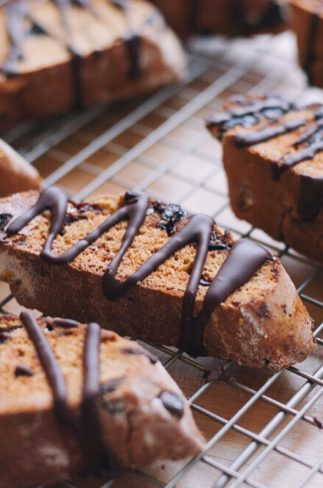 Dark Chocolate Cherry Biscotti   asimplepalate.com