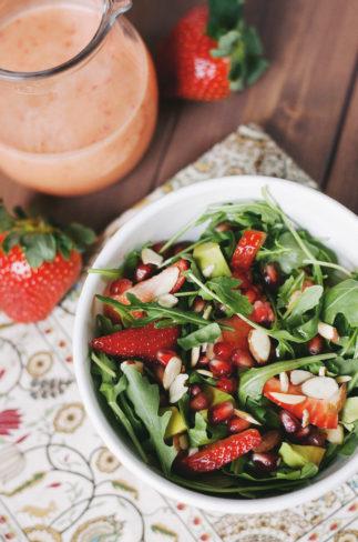 Strawberry-Pomegranate Salad with Strawberry Vinaigrette| asimplepalate.com