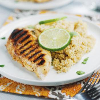 Sticky Honey-Lime Chicken and Quinoa | asimplepalate.com