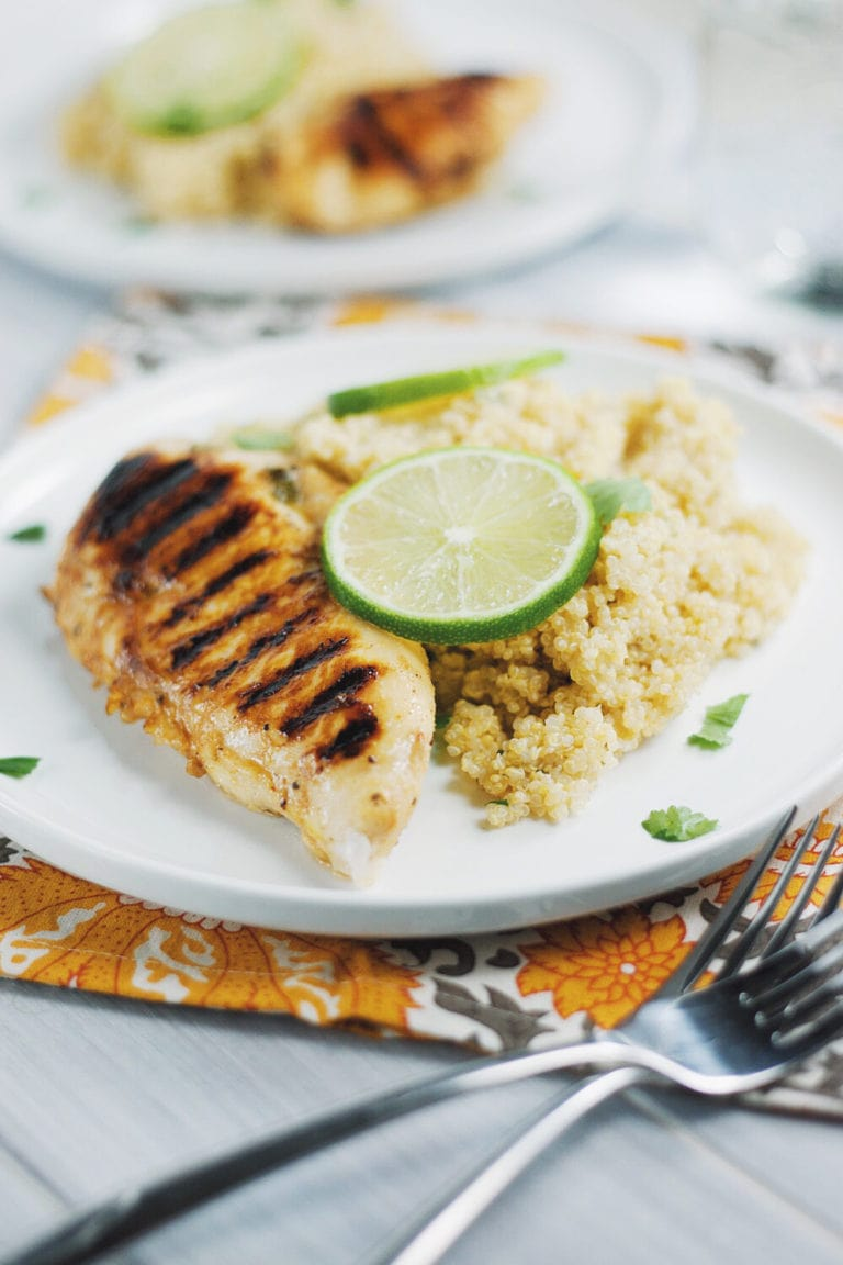 Sticky Honey-Lime Chicken and Quinoa | asimplepalate.com