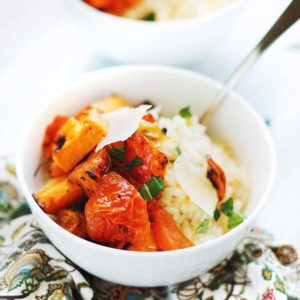 Risotto Bowls with Roasted Vegetables & Basil - Cheesy, creamy risotto with flavor-filled roasted vegetables!Only 2 main components to make this dish and it is SO tasty!   asimplepalate.com