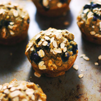 Blueberry Banana Whole Wheat Oat Muffins - Soft banana & blueberry muffins with simple ingredients! A delicious healthier option for muffins. | asimplepalate.com