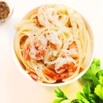 Fettuccine Pecorino Romano with Shrimp & Black Pepper | asimplepalate.com A perfect and easy date night dinner for two!
