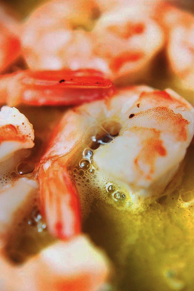 Shrimp cooking in butter