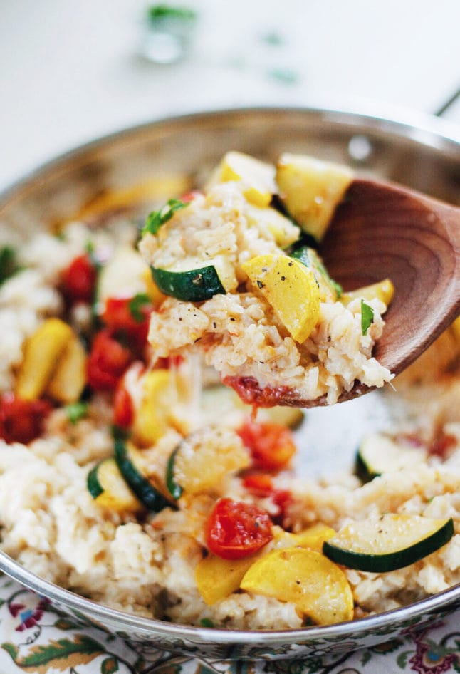 Healthy Garden Vegetable Rice with Creamy Cauliflower-Garlic Sauce