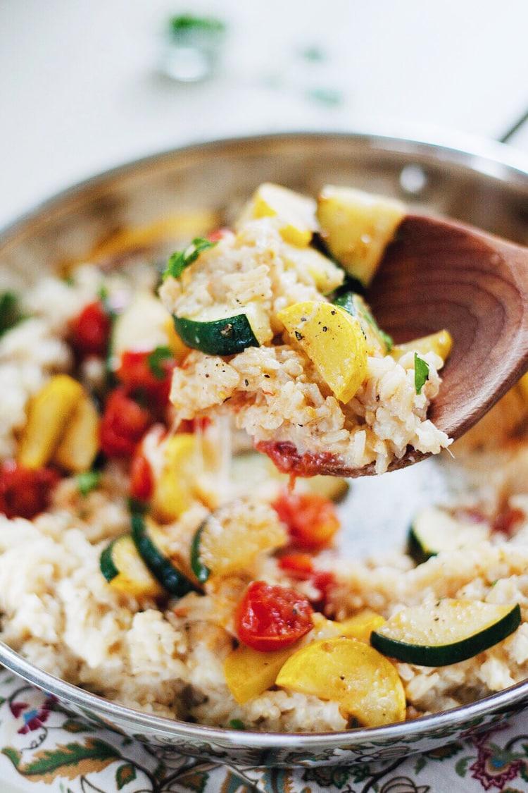Healthy Garden Vegetable Rice with Creamy Cauliflower-Garlic Sauce