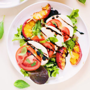 Grilled Peach Caprese Salad with Balsamic Reduction