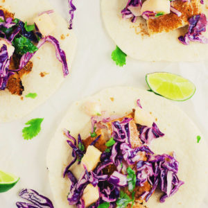 Summer Blackened Fish Tacos with Pineapple-Lime Slaw