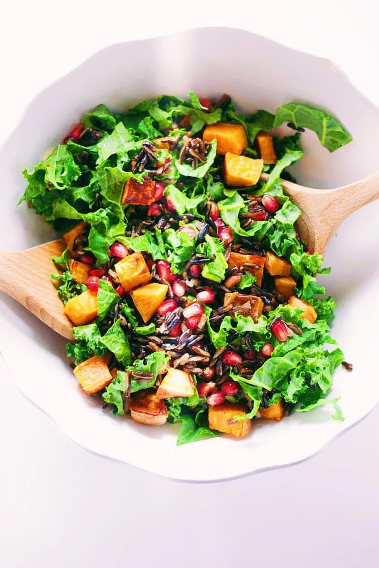 Kale & Wild Rice Autumn Salad with Lemon Herb Dressing -Easy, healthy salad to help get into the Fall spirit! Get the recipe HERE:asimplepalate.com