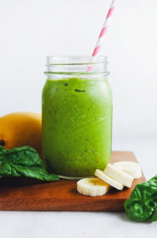 The BEST green smoothie with mango, kale, and bananas. So nourishing + YUMMY. | asimplepalate.com #greensmoothie #smoothie #breakfast #healthy