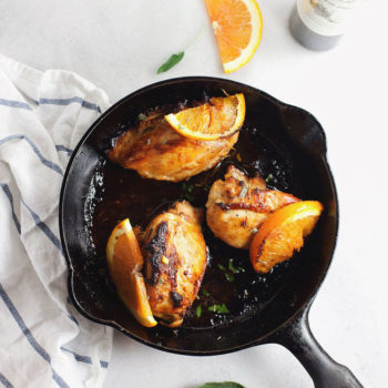 Delicious skillet chicken with citrus, herb and honey. So delicious and EASY! | asimplepalate.com