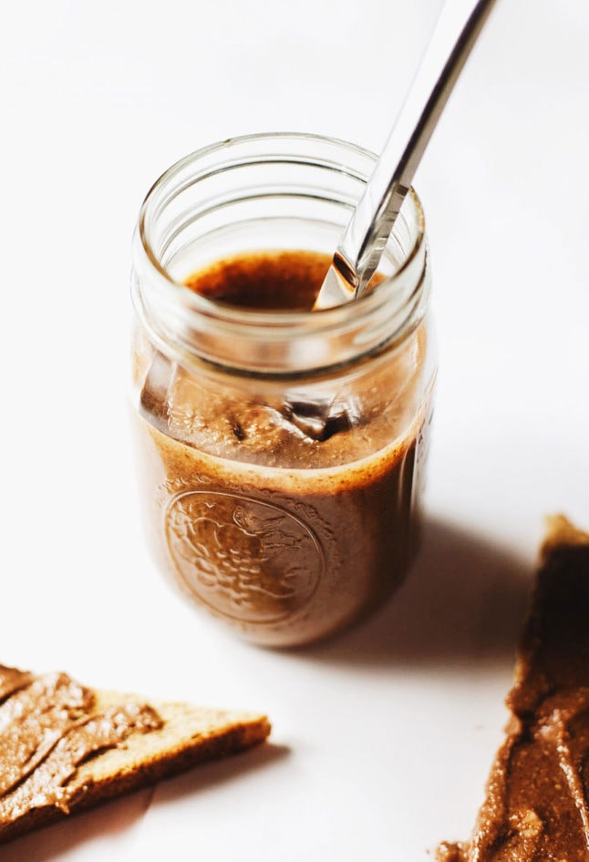 Dark Chocolate Honey Almond Butter - Almost 75% less sugar than Nutella, FIVE clean ingredients and a jar full of dark chocolate LOVE.