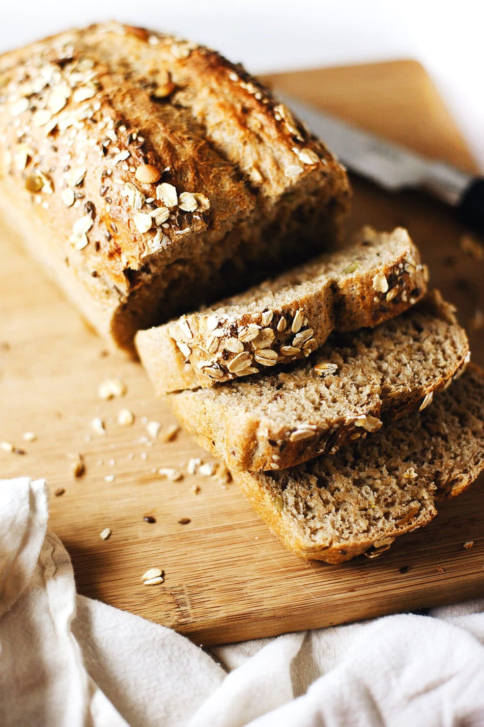 Easy Whole Wheat Grain Bread - Healthy, wholesome and SUPER fast to make. My favorite bread for toast and sandwich bread! I could eat this all day.