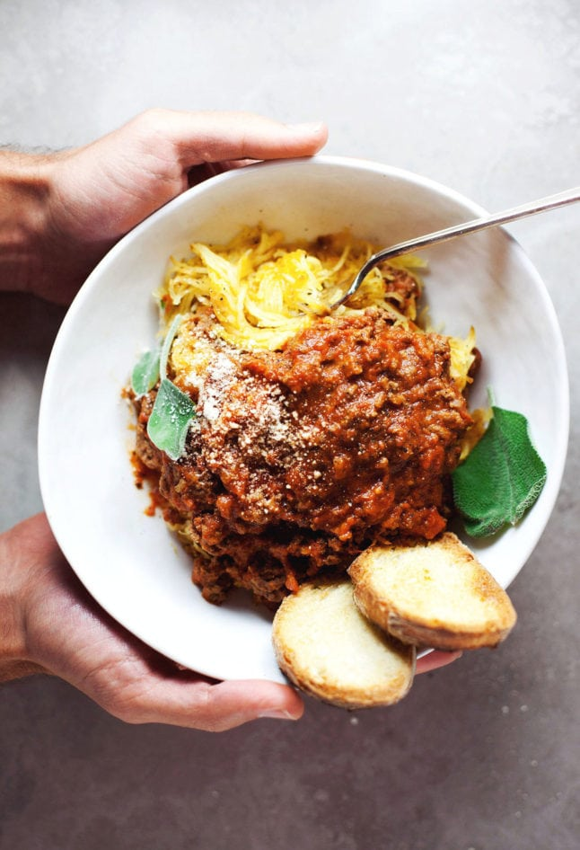 Simple Spaghetti Squash Bolognese - comforting, healthy, and DELISH.   asimplepalate.com