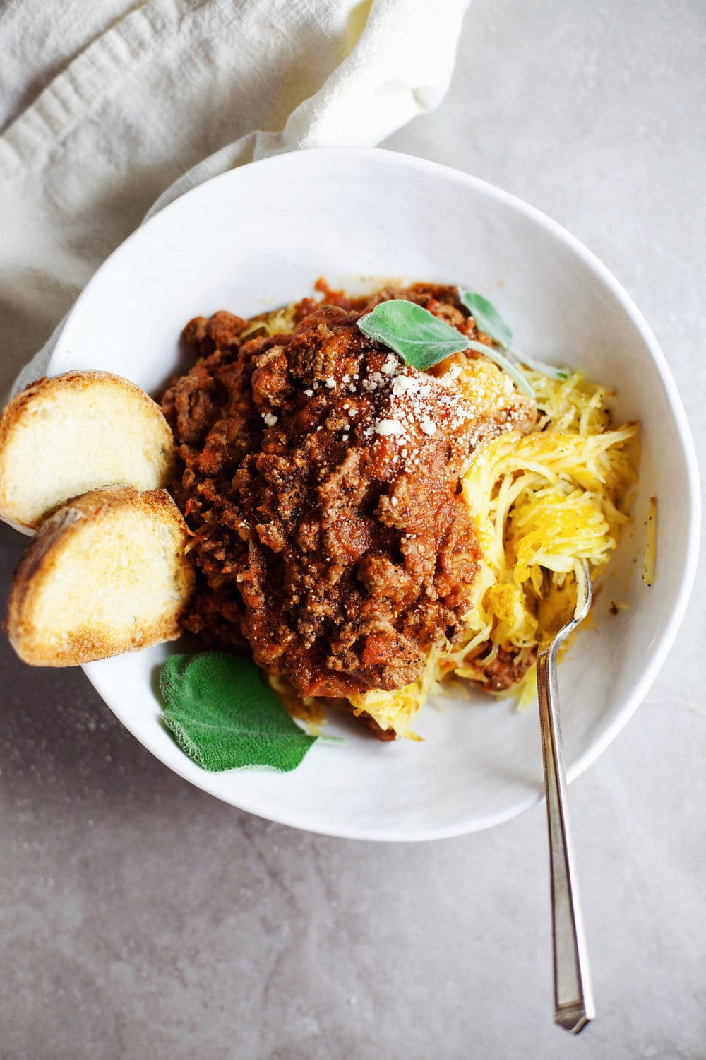 Simple Spaghetti Squash Bolognese - comforting, healthy, and DELISH. | asimplepalate.com
