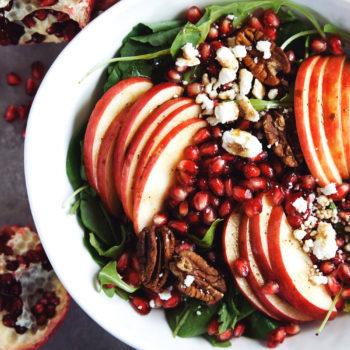 A bowl of apple slices, pomegranate seeds in a harvest salad.