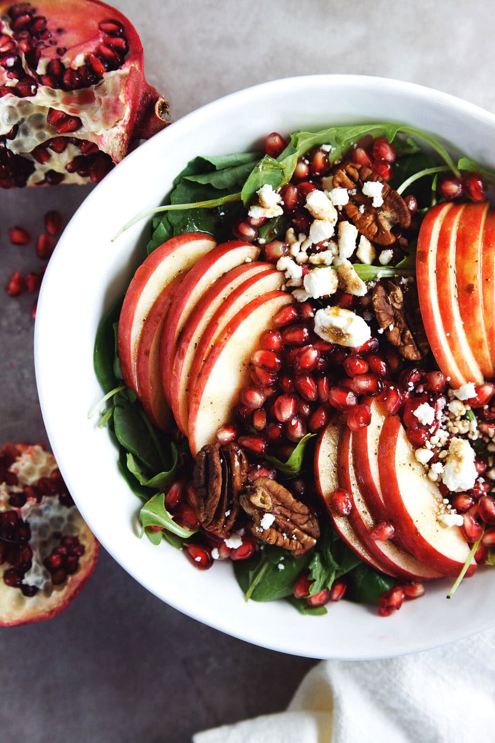 My favorite fall salad - Apple Pomegranate Harvest Salad. SO yum! | asimplepalate.com