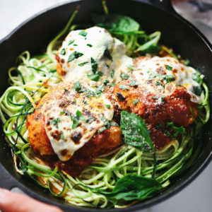 Healthy Chicken Parmesan & Zucchini Noodle Skillet Bake | asimplepalate.com