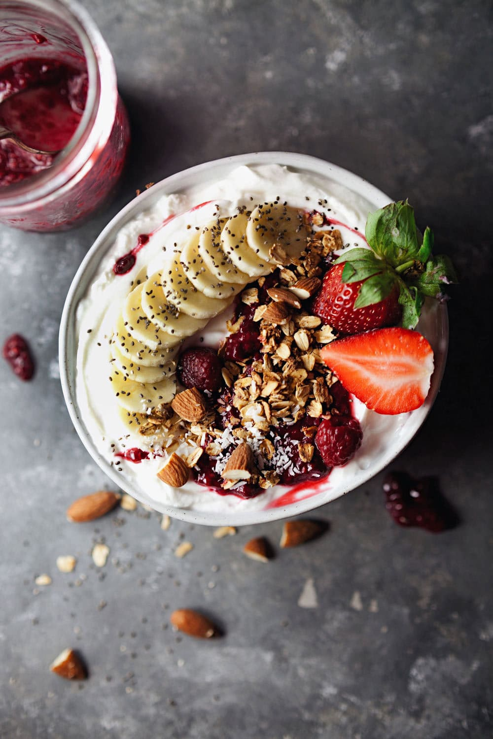 Raspberry Compote Yogurt Bowl - Satisfying, delicious, and wholesome. <3 | asimplepalate.com