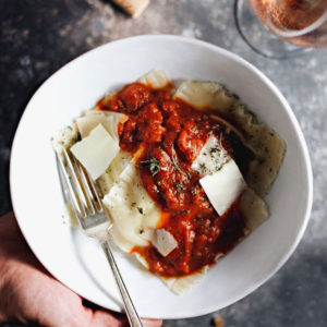 Delicious, cheesy pillows of the EASIEST homemade pasta you'll ever make for date night. | asimplepalate.com
