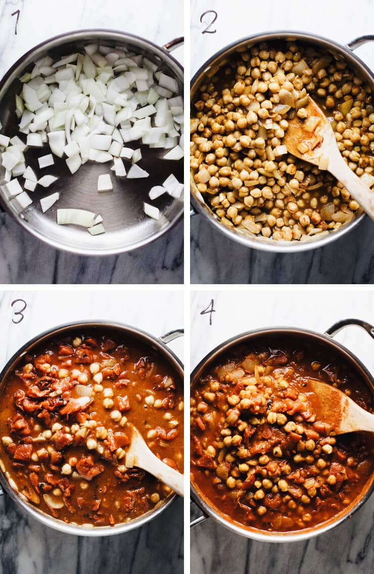 step by step photos for making moroccan chickpea stew