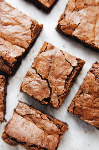 Fudgey, rich, coconut oil brownies with a hint of espresso! SO delicious. | asimplepalate.com