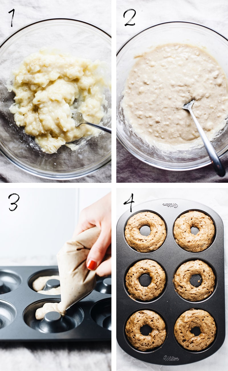 step by step photos of how to make baked cake donuts