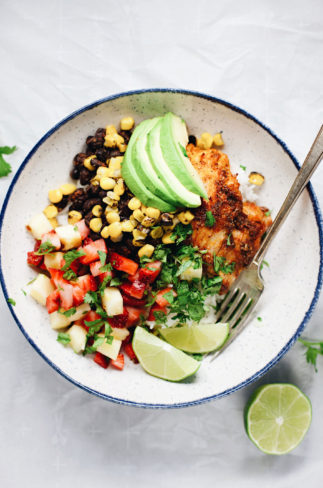 Refreshing strawberry-pineapple salsa and zippy blackened chicken! AMAZING. | asimplepalate.com