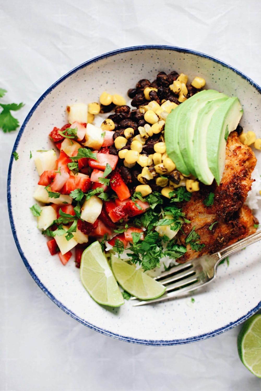 Refreshing strawberry-pineapple salsa and zippy blackened chicken! AMAZING. | asimplepalate.com