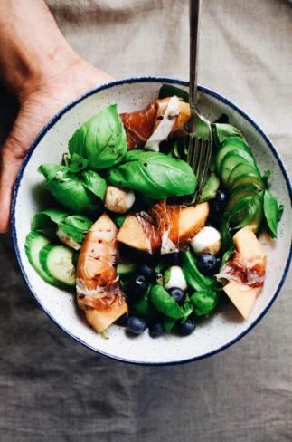 Summer Basil Salad with Prosciutto & Melon
