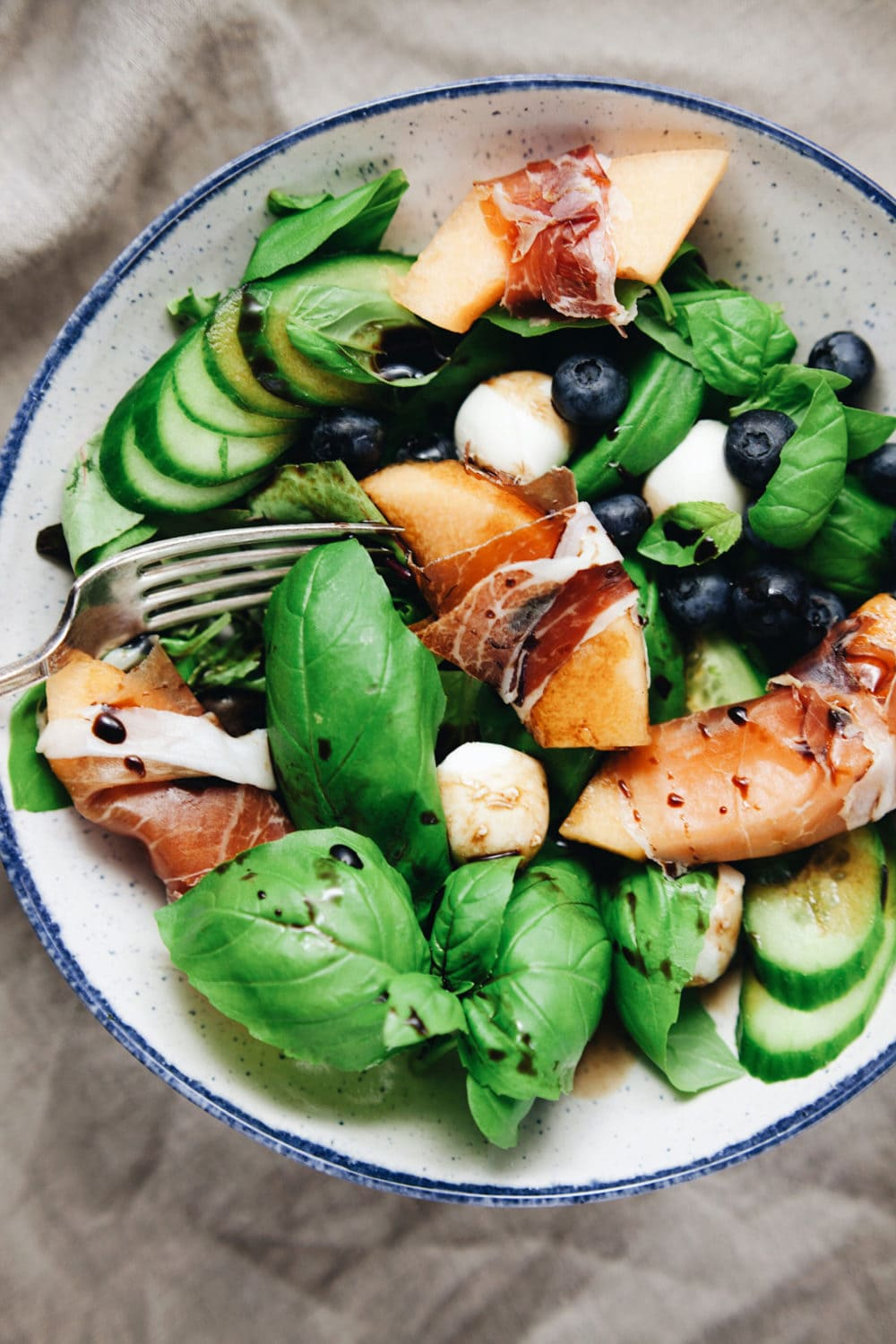 Summer Basil Salad with Prosciutto & Melon. So refreshing and delicious! | asimplepalate.com