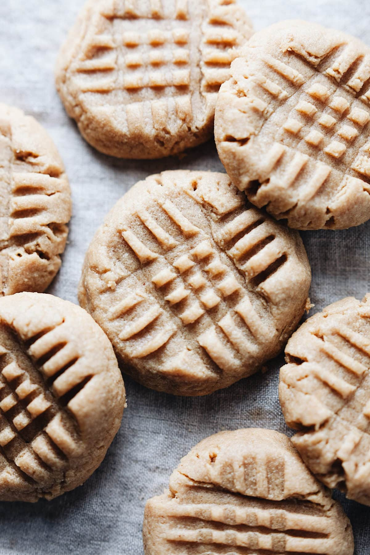 A group of peanut butter cookies with cross-hatch pattern