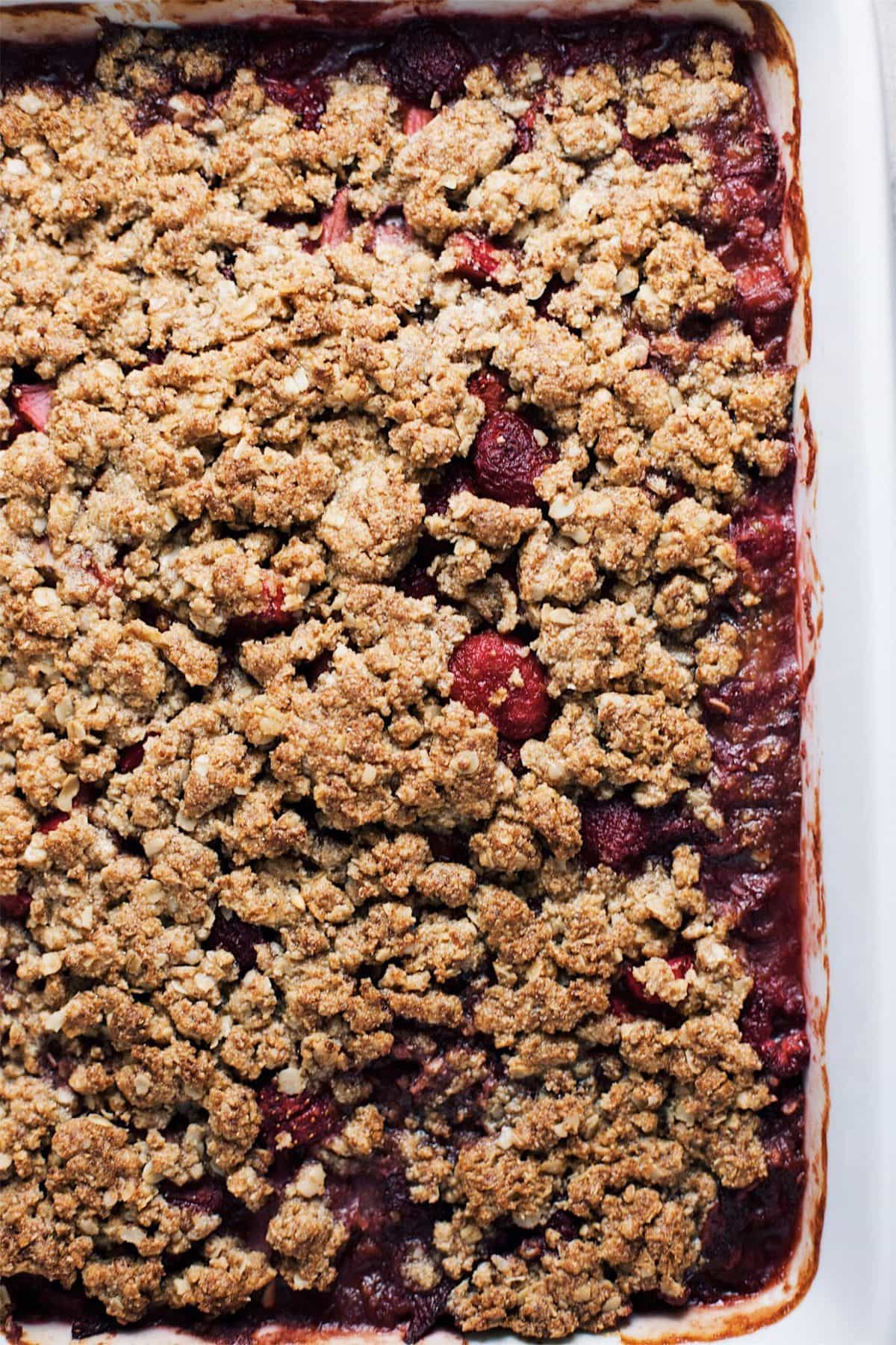 Close up on a berry rhubarb crumble