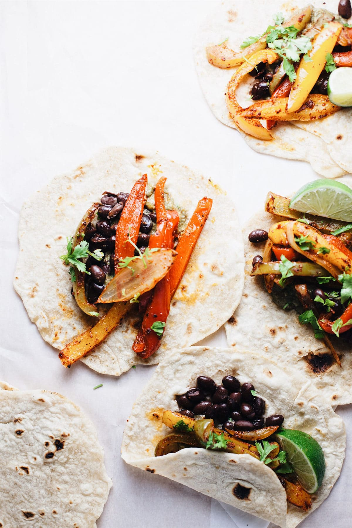 vegetarian fajitas displayed on parchment papaer