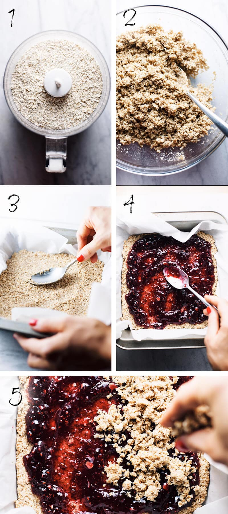 step by step on how to make raspberry oatmeal squares