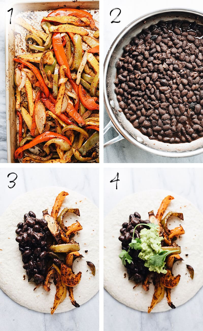 Step by step photos of how to make a vegetarian fajita recipe