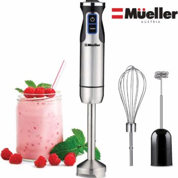 A black and silver hand-immersion blender.