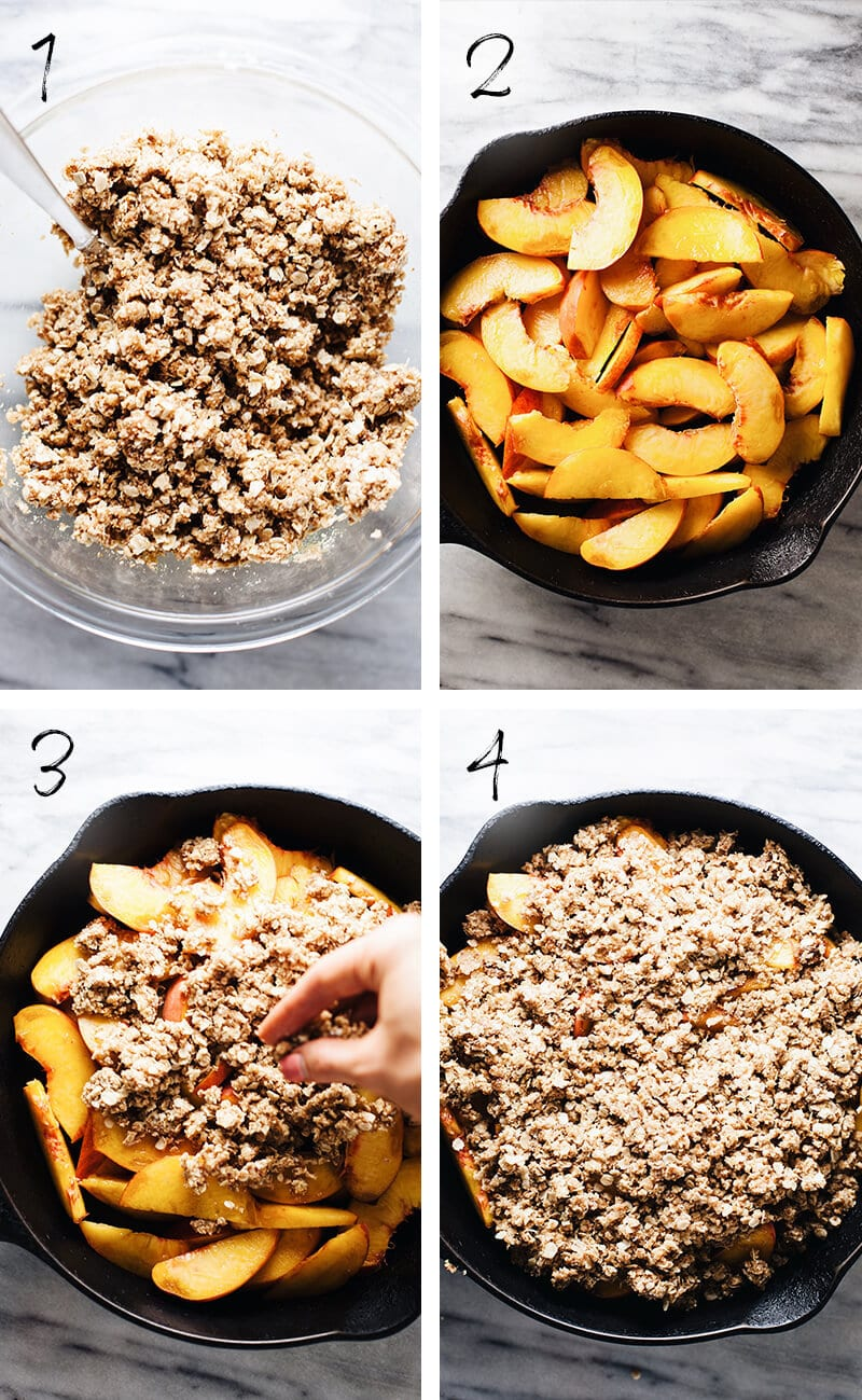 step by step photos of how to make gluten free peach crisp.