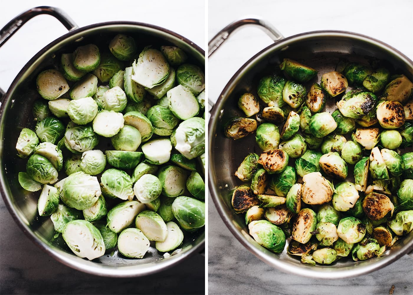 Sauteed brussels sprouts in a stainless steel pan.