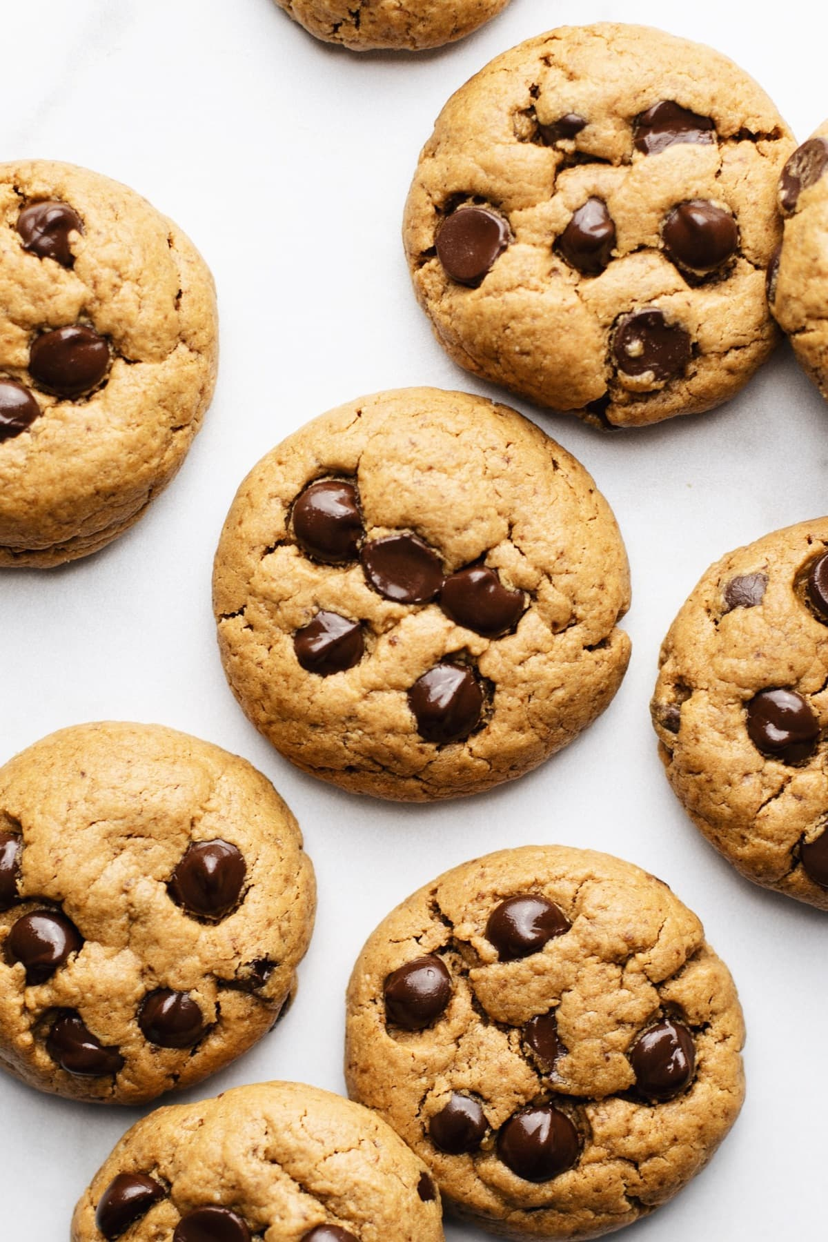 Flourless chocolate chip cookies arranged on a white counter.