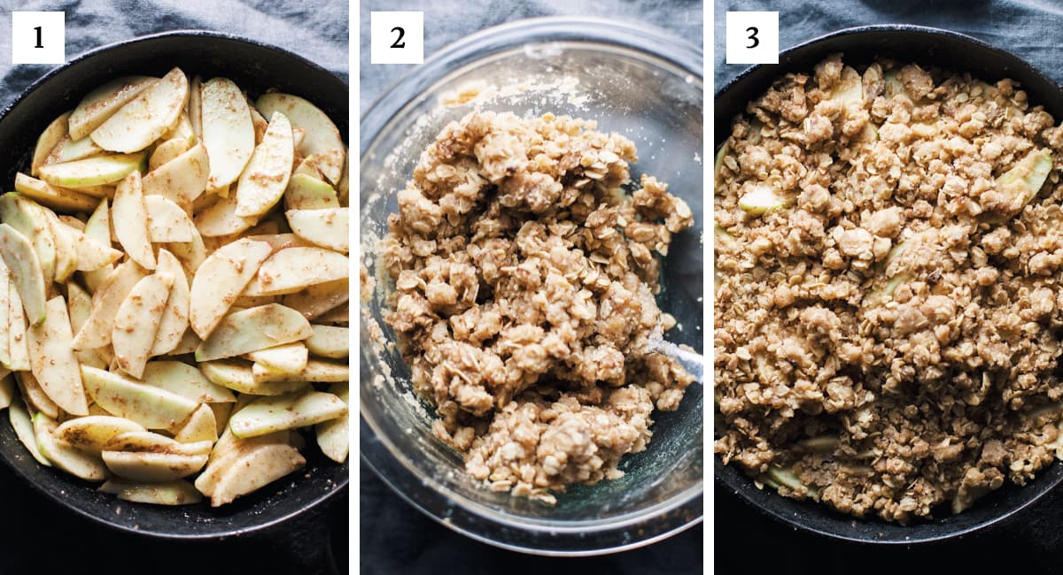 step by step photos on how to make apple crumble