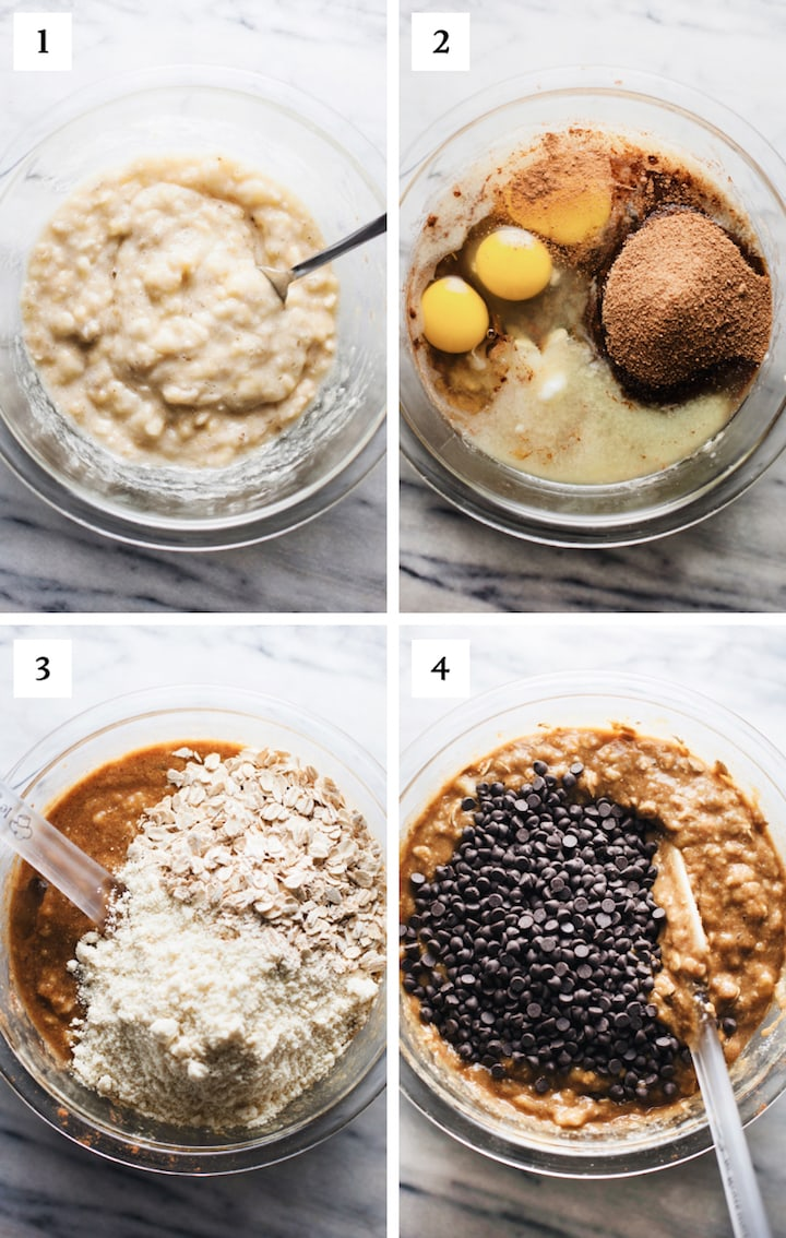 step by step photos of how to make flourless banana bread.