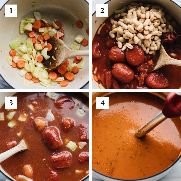 Step by step photos showing how to make healthy tomato basil soup.