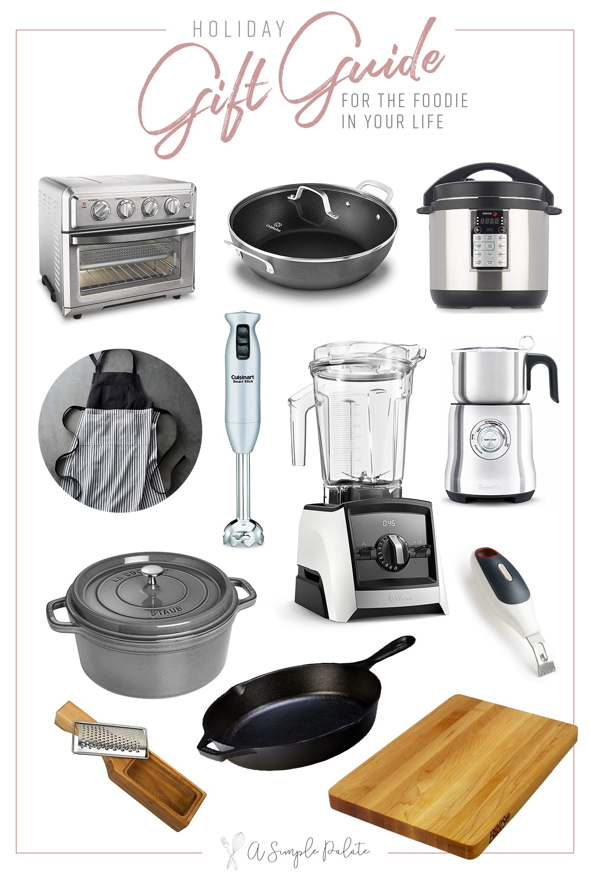 A holiday gift guide with kitchen tools on a white background